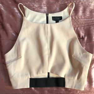 TOPSHOP Crop Top Minimal Cream Black Zip